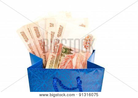 Blue Gift Bag With Money On White