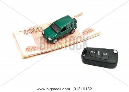 Banknotes, Keys And Green Car