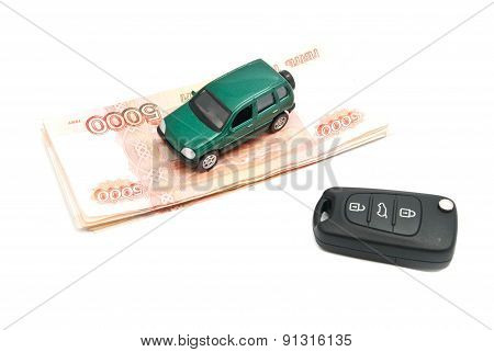Russian Banknotes, Keys And Green Car