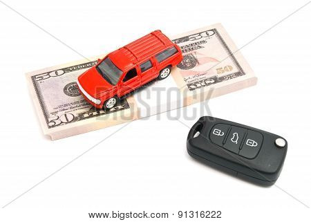 Car Keys, Red Car And Money