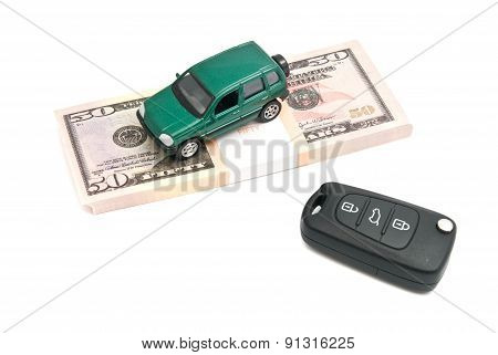 Car Keys, Green Car And Money