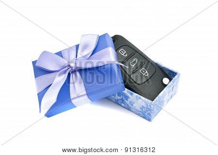Car Keys In Blue Gift Box On White