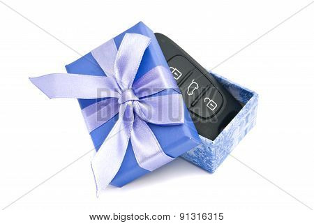 Car Keys In Blue Gift Box