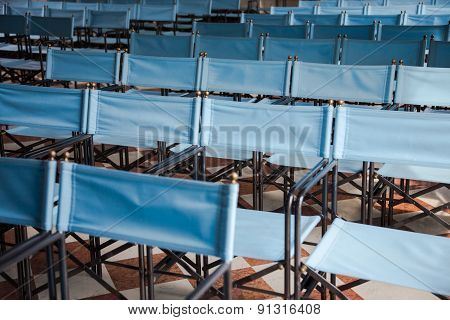 Composition Of Blue Canvas Folding Chairs