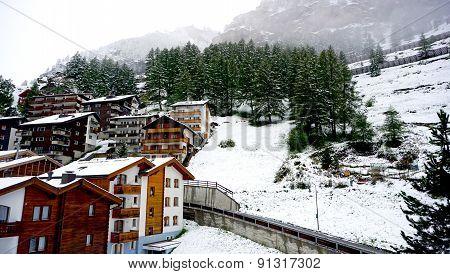 Scenery Of Zermatt On Snowy Day