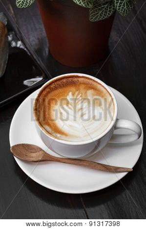 Cup of latte coffe