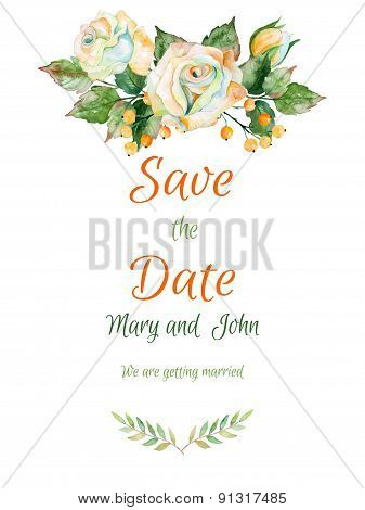 Vector beautiful wedding card of white rose and other. Watercolor roses