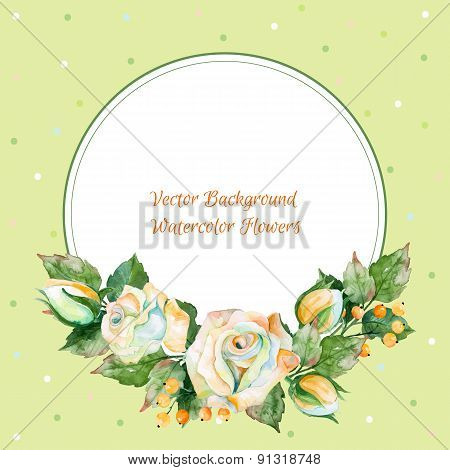 Vector round frame of white rose and other. Watercolor wreath.