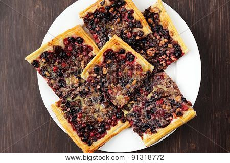 Berry Pie With Puff Pastry Cut In Square Pieces Top View