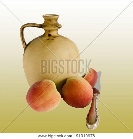 Ceramic Jug And Peaches