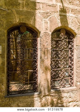 Antique Windows In The Old City Of Jaffa
