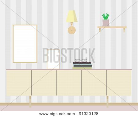 ?hest of drawers. Interior. Design. Flat design. Vector illustration