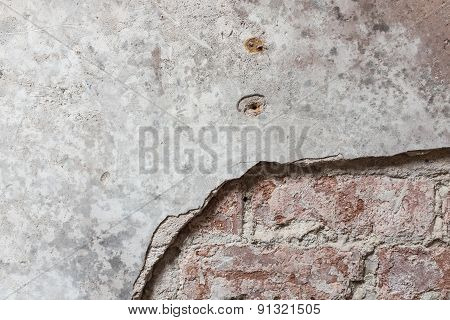 Brick Wall With Plaster Partially Removed