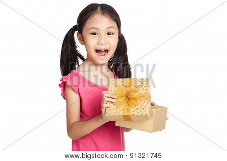 Happy Little Asian Girl Open Gift Box