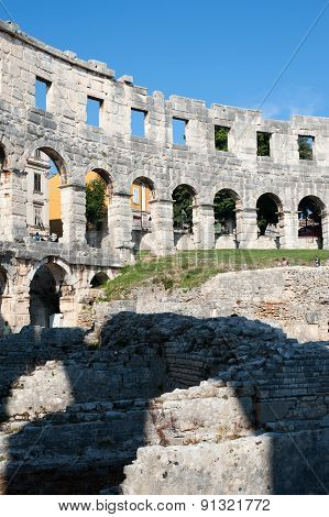 Ruins Of The Colloseum In Pula