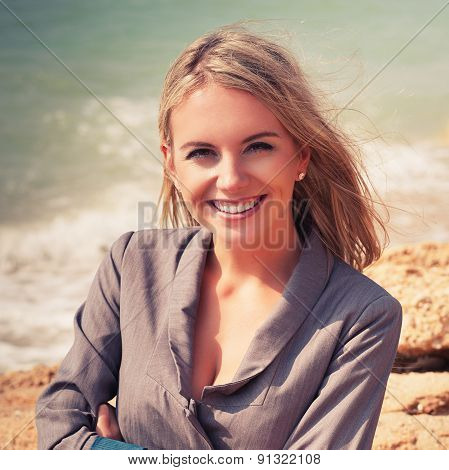 Woman Posing On A Beach