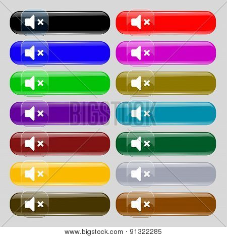 Mute Speaker , Sound  Icon Sign. Set From Fourteen Multi-colored Glass Buttons With Place For Text.