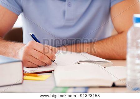 Studying Hard.