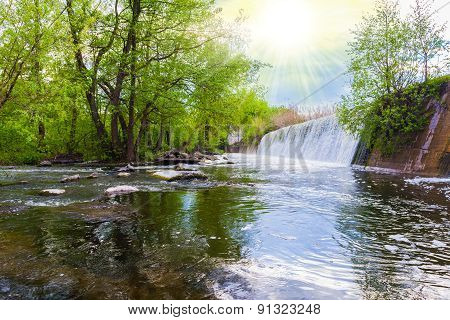Spring Landscape Waterfall