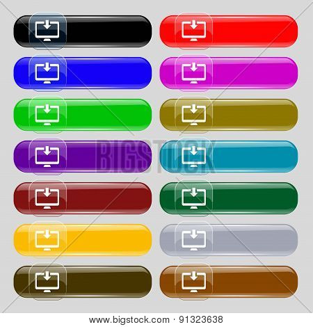Download, Load, Backup  Icon Sign. Set From Fourteen Multi-colored Glass Buttons With Place For Text