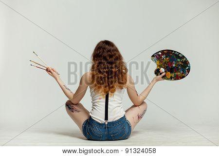 Girl artist back