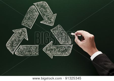 recycling symbol on blackboard Environment protection concept