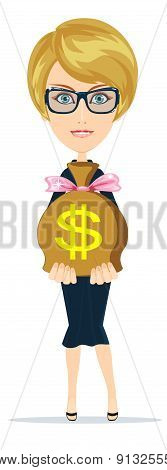 Successful businesswoman with a Bag of Dollar, Gold Cash. Vector Illustration