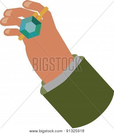 Vector Illustration Of Hand With Diamond Ring