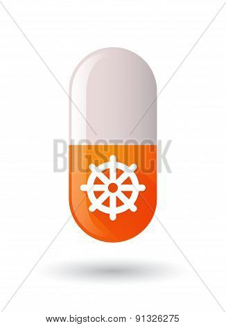 Orange Pill Icon With A Dharma Chakra Sign
