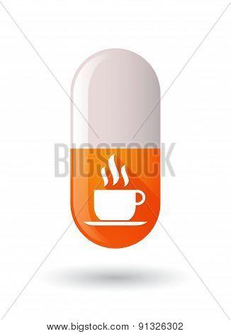 Orange Pill Icon With A Coffee Mug