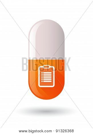Orange Pill Icon With A Report