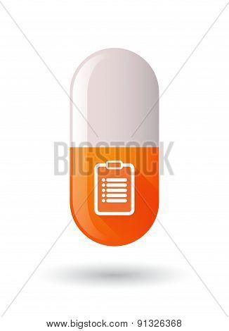 Orange Pill Icon With A Report
