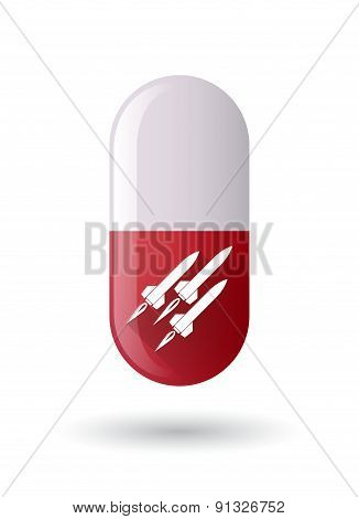 Red Pill Icon With Missiles