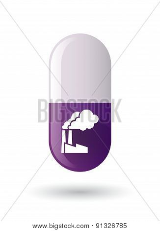 Purple Pill Icon With A Factory