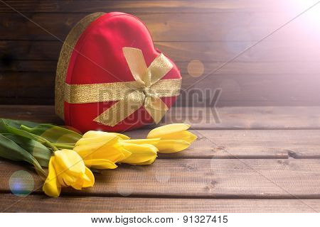 Festive Gift Box And Flowers