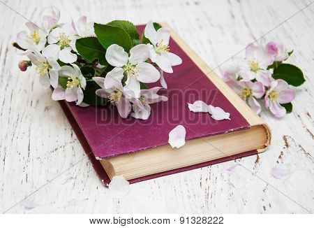 Vintage Book With Apple Blossom