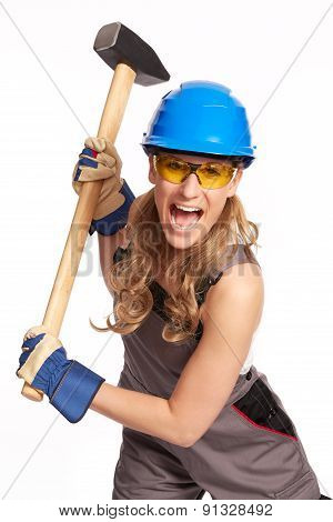 Young Woman With A Big Hammer