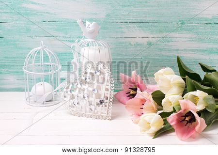 Background With Flowers, Heart And Candles