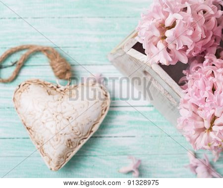 Background  Decorative Heart And Flowers