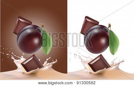 chocolate, plum and milk realistic illustration