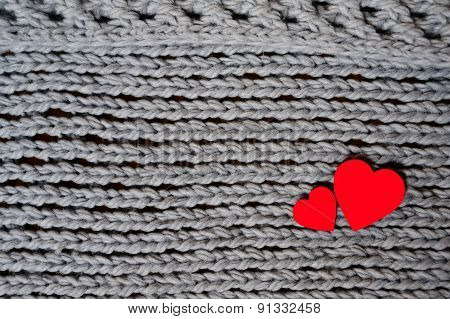 Handmade Grey Knitting Wool Texture Background With Red Hearts