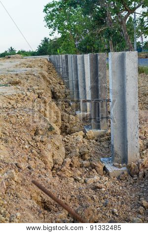 Large concrete construction to prevent soil erosion