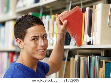 Teenage boy working in library