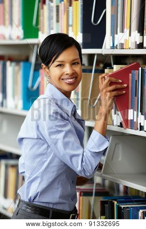 Woman working in library