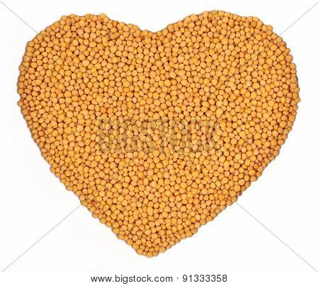 White Mustard In The Form Of Heart On A White