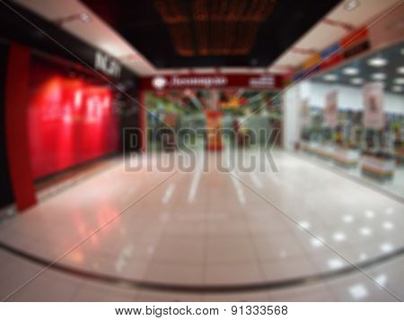 Interior Of The Shopping Mall Was Blurred For Use As A Background