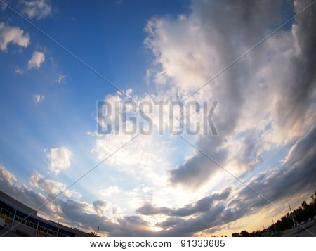 The Sky With Clouds Over The City Before Sunset