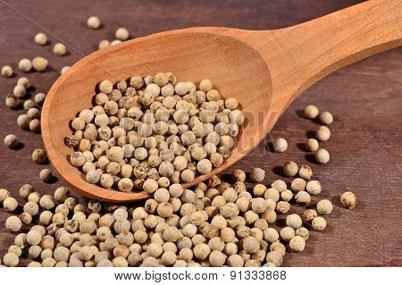White Pepper Seeds In A Spoon