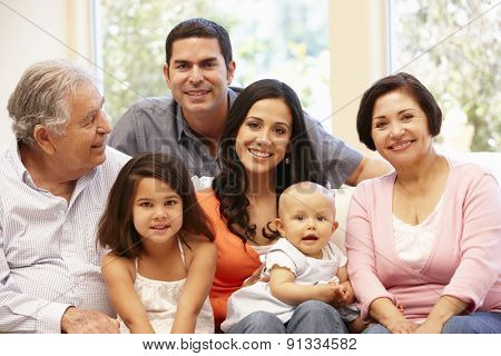 3 generation Hispanic family at home