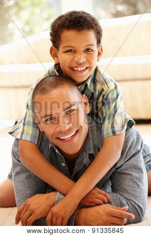 Father and son at home